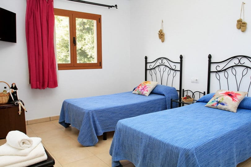 Double room blue at Opales Yoga retreat at Sea view Ecohouse Ibiza