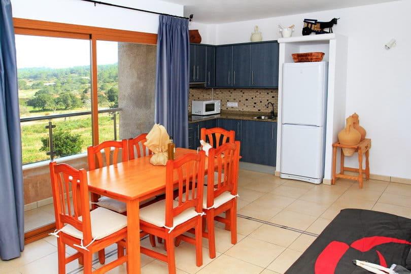 Indoor living room at sea view ecohouse Opales Yoga retreat Ibiza