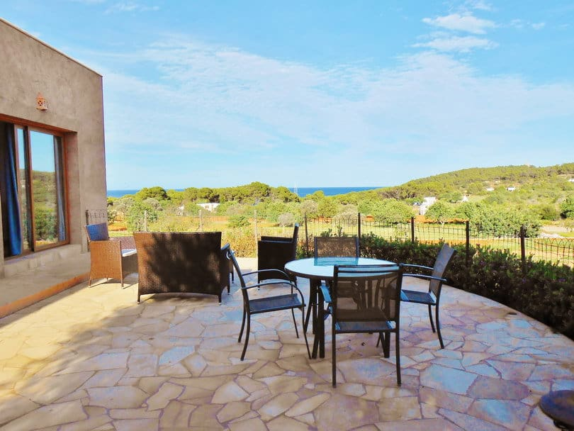 Outdoor terrasse with Sea view at Opale's Yoga retreat Ibiza