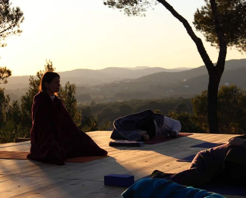 Relax in Savasana at Opales Yoga retreat in Ibiza