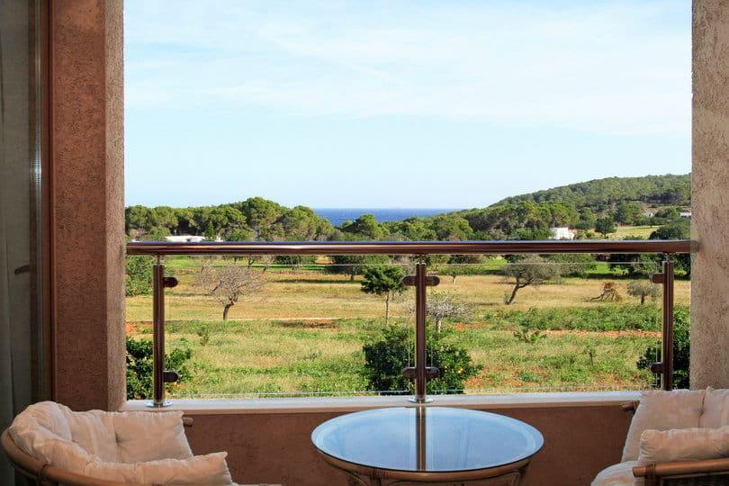 Sea view from the balcony at Opales Yoga retreat Ibiza