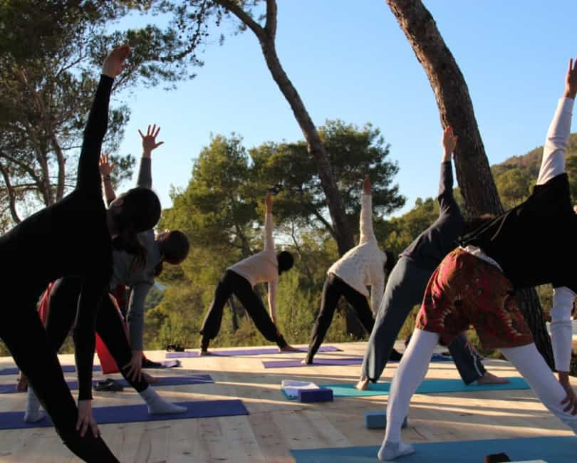 Shadded outdoor Yoga deck for Opales Yoga retreat in Ibiza