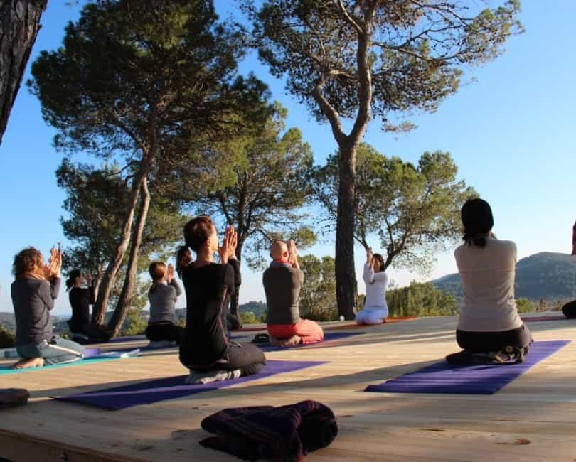 Shadded outdoor Yoga terrace at Opales Yoga retreat Ibiza