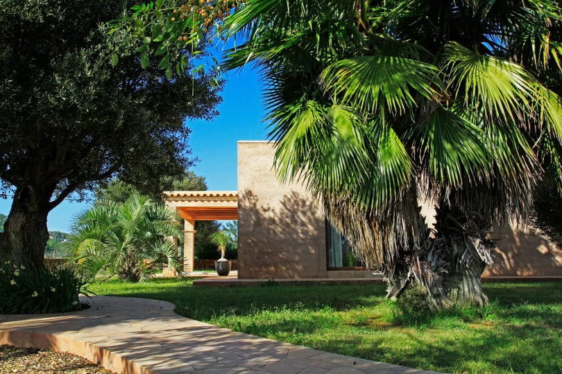 Shaded garden at Opales Yoga retreat in Sea view Ecohouse Ibiza 1