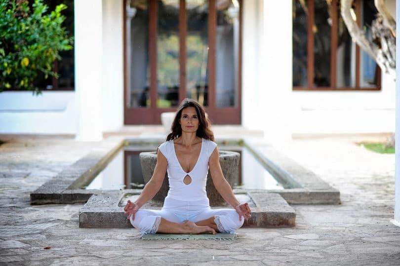 Sincerity Opale in Siddhasana Meditation pose Ibiza