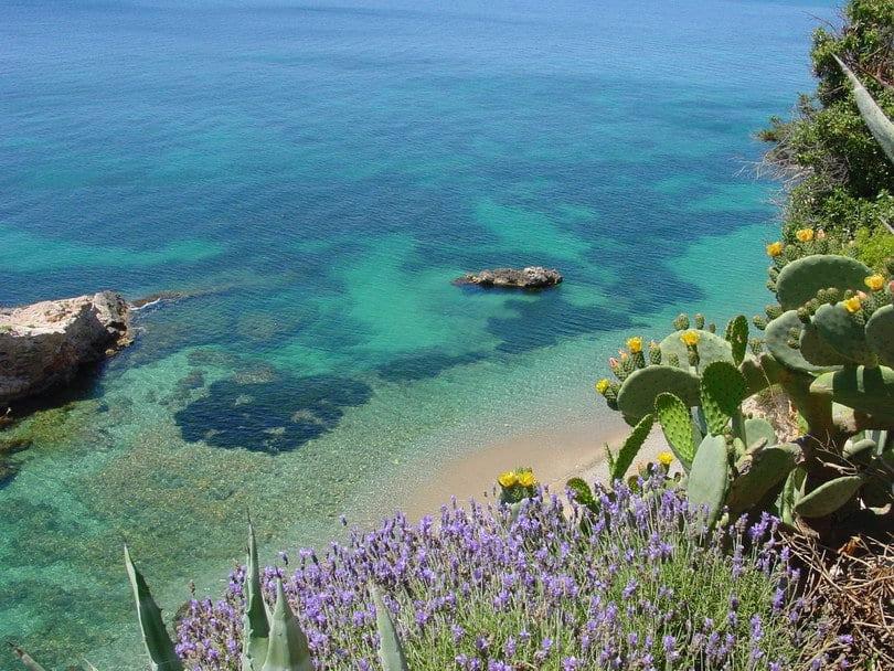 Turquoise waters in Cala Boix Ibiza