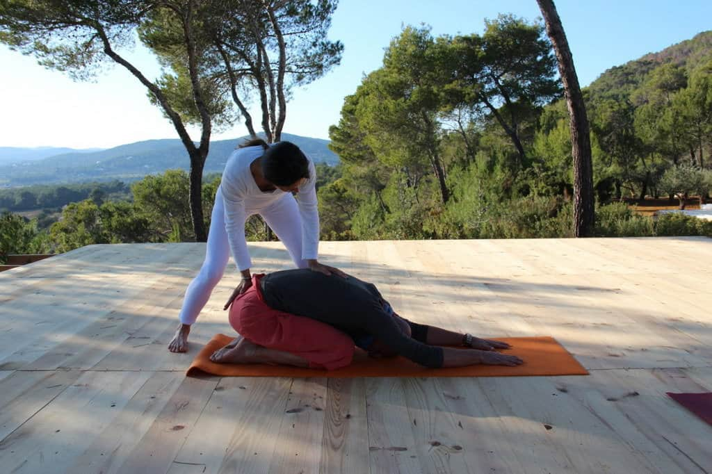 Balasana or childs pose during private Yoga class in Ibiza with Opale