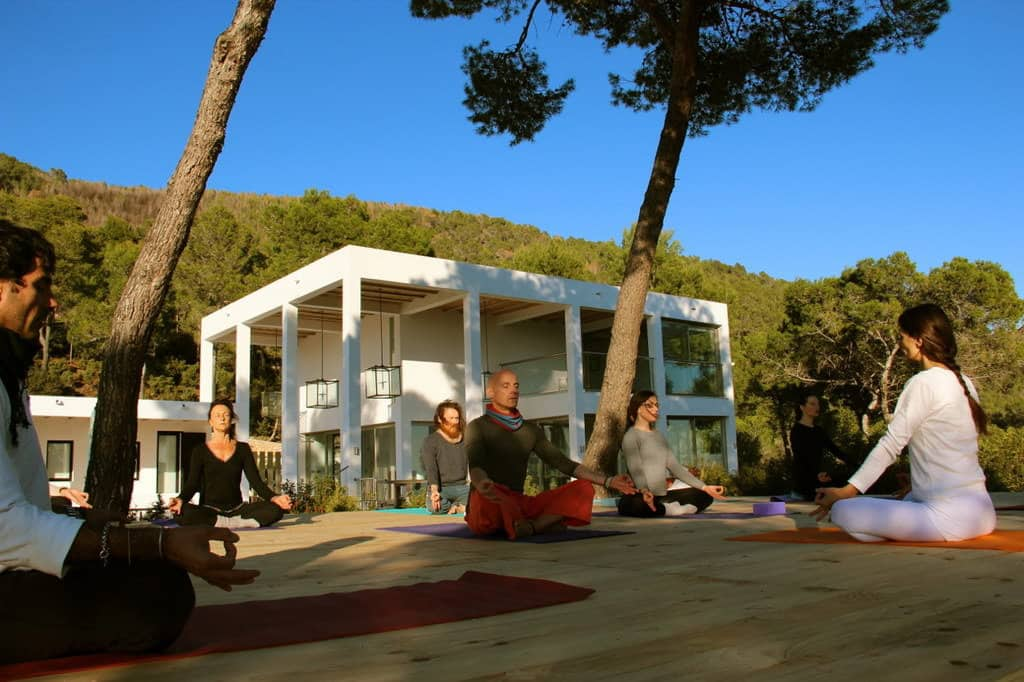 Mindfulness meditation class for private group in a villa in Ibiza with Opale
