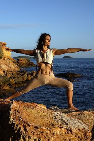 Opale in Virabhadrasana 2 Ashtanga Yoga Ibiza