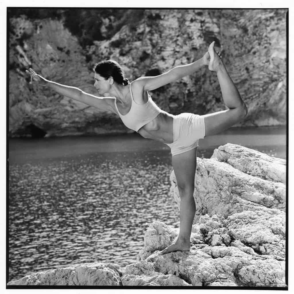 Opale in balanatasana Ashtanga Yoga photo shoot by Jerome Ferriere in Ibiza 2006