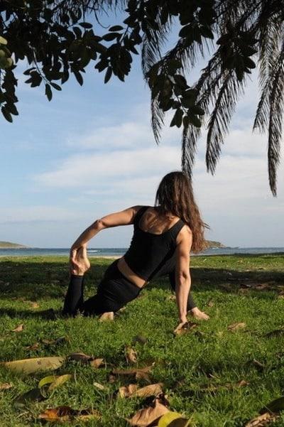 Opale in eka pada rajakapotasana 2 Hatha Yoga on Cala Martina Ibiza