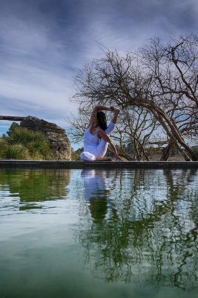 Opale in eka pada sirsasana preparation Hatha Yoga Ibiza