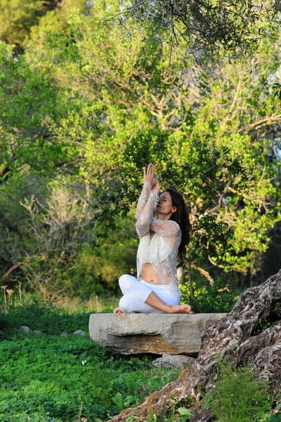 Opale in gomukhasana variation Hatha Yoga Ibiza