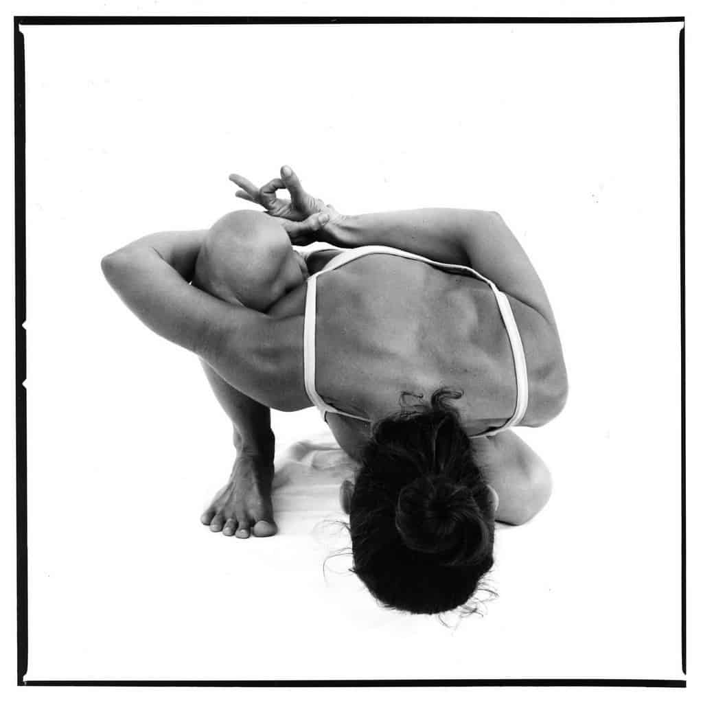 Opale in maricyasana 2 Ashtanga Yoga photo shoot by Jerome Ferriere in Ibiza 2006