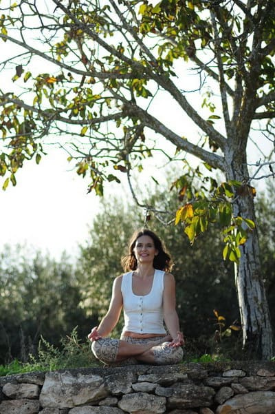 Opale in padmasana lotus meditation pose Ibiza 1