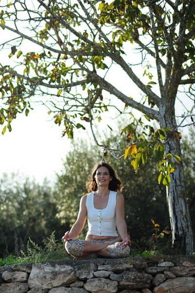 Opale in padmasana lotus meditation pose Ibiza 1