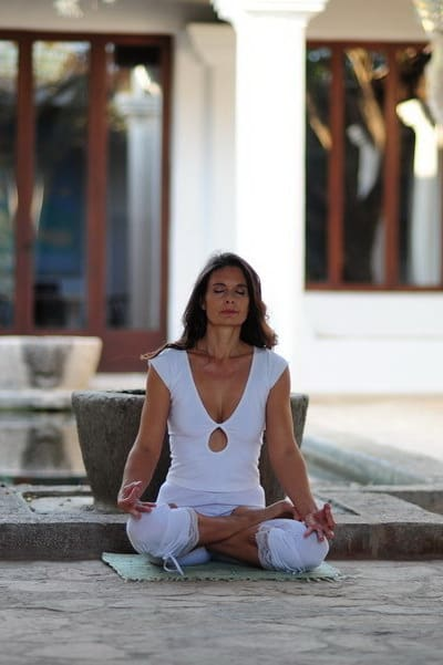 Opale in padmasana lotus meditation pose Ibiza