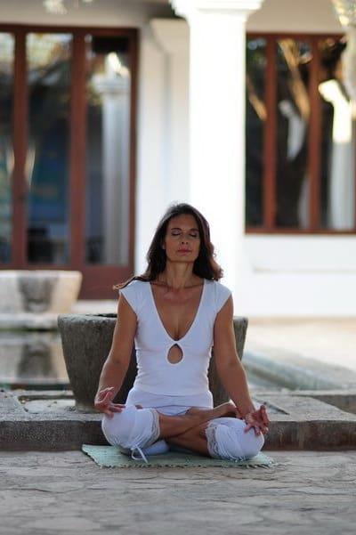 Opale in padmasana lotus meditation pose Ibiza