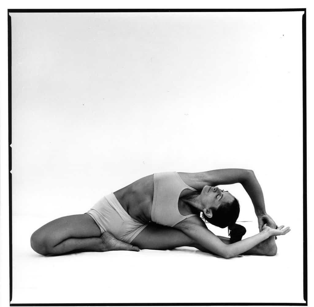 Opale in parivrtta janu sirsasana Ashtanga Yoga photo shoot by Jerome Ferriere in Ibiza 2006