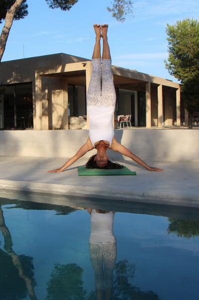 Opale in prasarita hasta sirsasana Ashtanga Yoga Ibiza