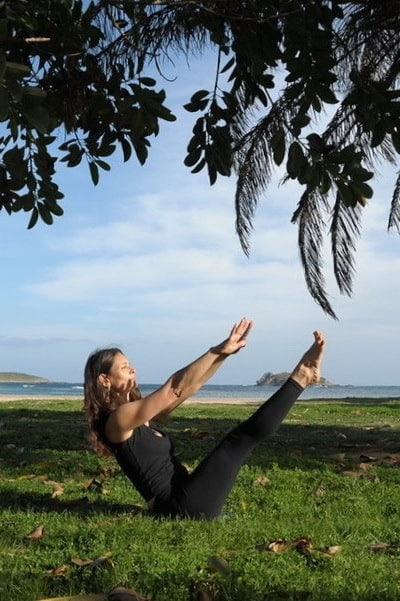 Opale in teaser Pilates exercise Ibiza