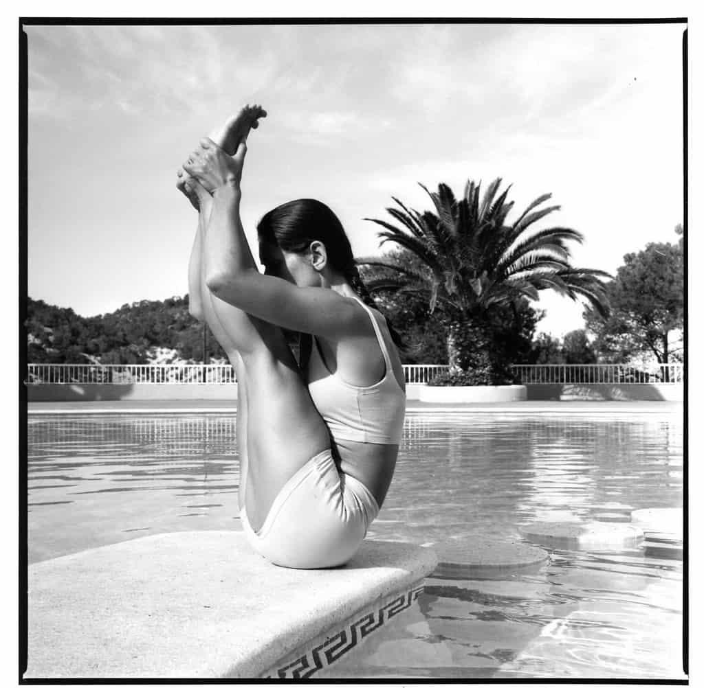 Opale in ubhaya padangusthasana Ashtanga Yoga photo shoot by Jerome Ferriere in Ibiza 2006