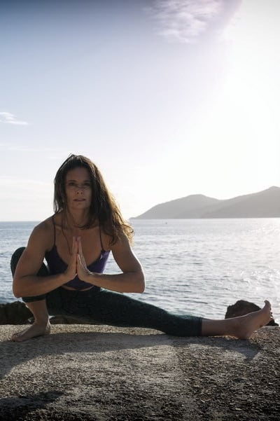 Opale in uttana eka pada malasana Hatha Yoga by the sea Ibiza