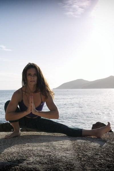 Opale in uttana eka pada malasana Hatha Yoga by the sea Ibiza