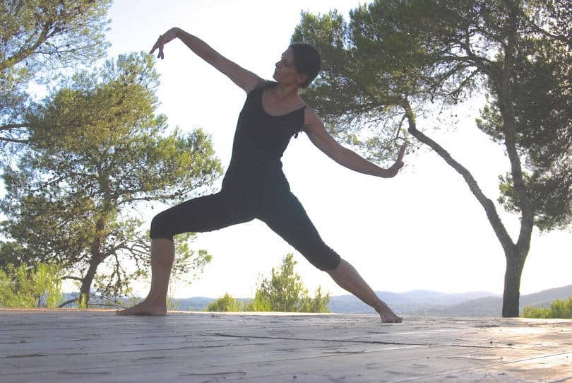 Opale in warrior flow Yoga retreat Ibiza