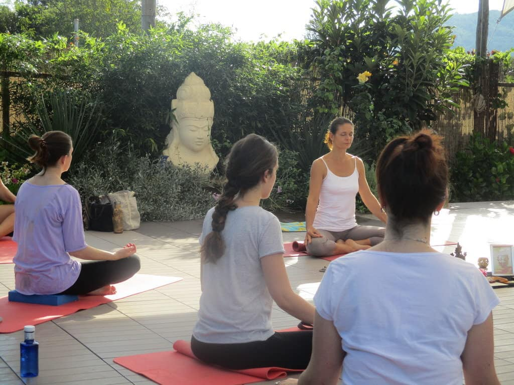 Private Yoga class for group of hens in Ibiza with Opale
