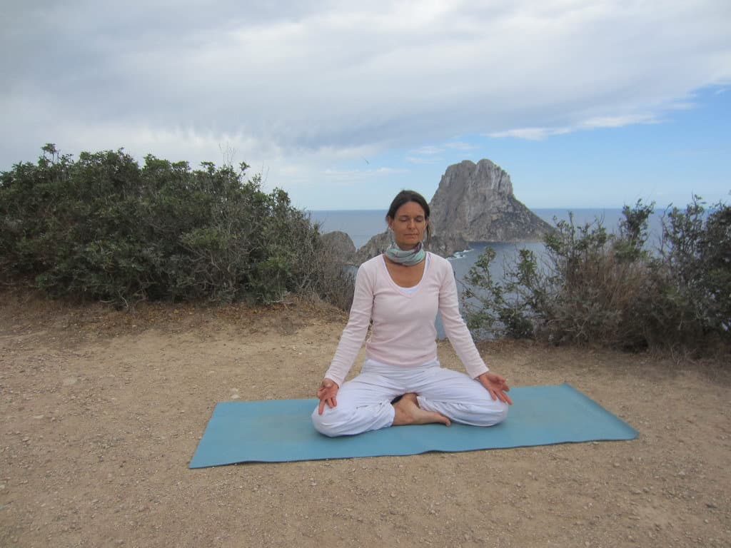 Private Yoga lesson with Opale in front of Es Vedra Ibiza