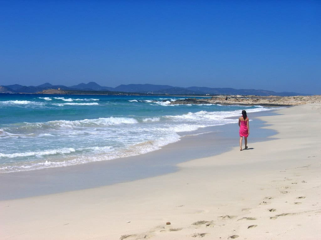 White sandy beach Ibiza