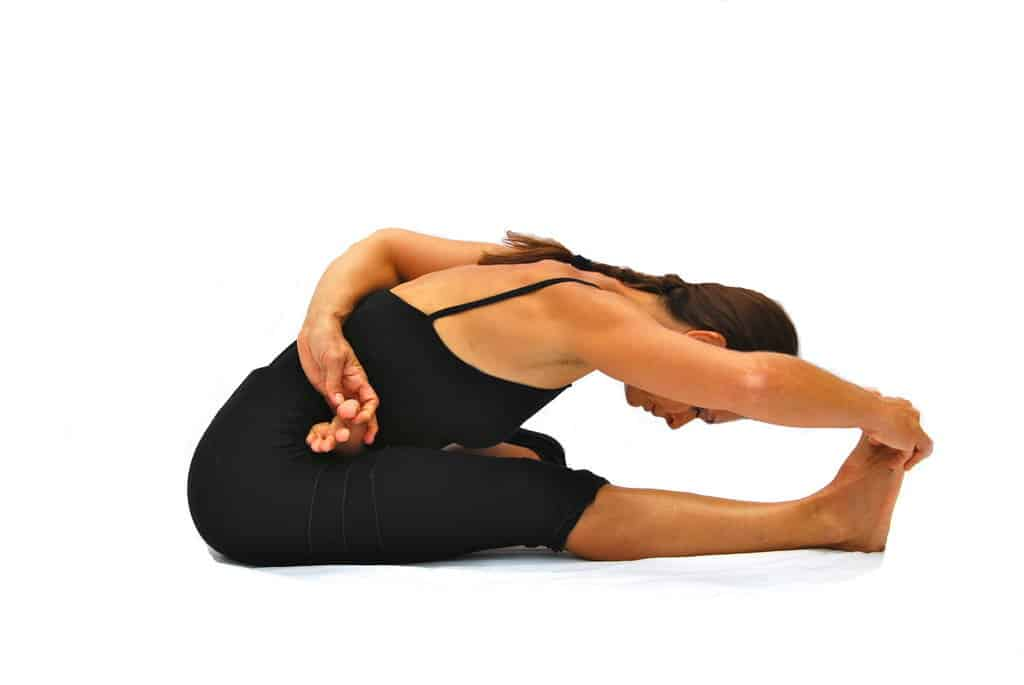 Ardha baddha padma pascimottanasana 1 leg in half lotus back stretched out pose Opale Yoga Ibiza