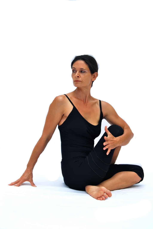 Ardha matsyendrasana I half Matsyendras pose preparation A Opale Yoga Ibiza