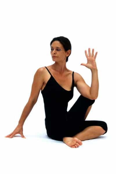Ardha matsyendrasana I half Matsyendras pose preparation B Opale Yoga Ibiza