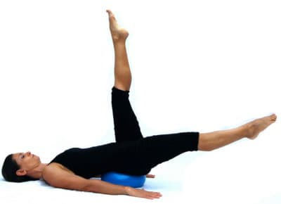 Double legs straight variation on ball Opale Pilates Ibiza