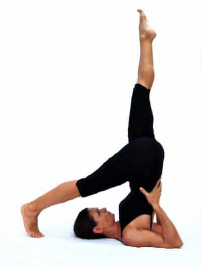 Eka pada Sarvangasana I one leg shoulderstand Opale Yoga Ibiza