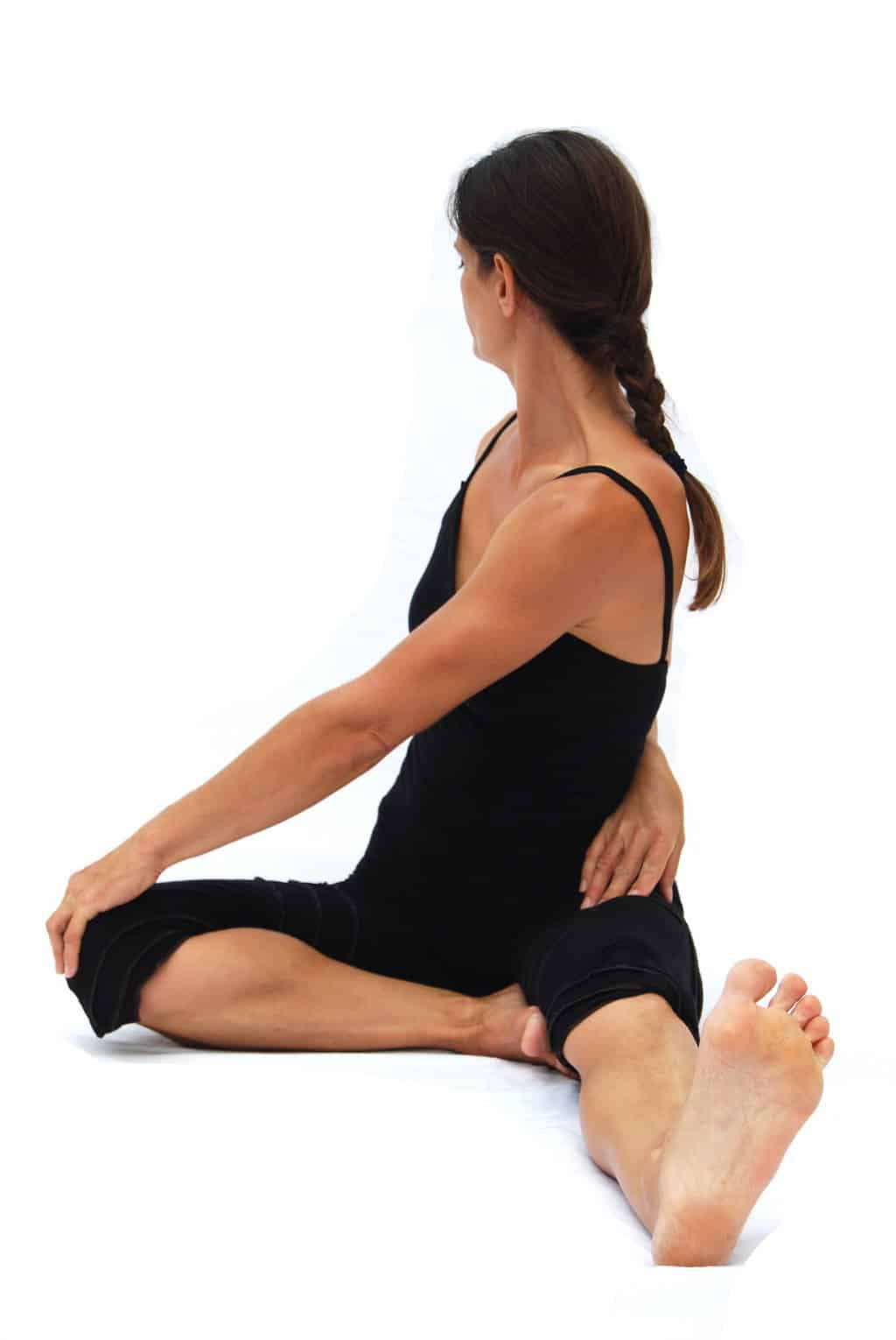 Parivrtta janu sirsasana reversed knee head pose preparation Opale Yoga ibiza