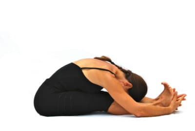 Pascimottanasana back stretched out pose Opale Yoga Ibiza