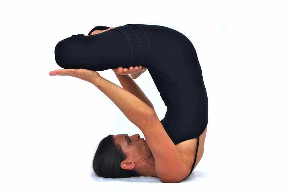 Urdhva padmasana in sarvangasana II raised lotus in shoulderstand 2 Opale Yoga Ibiza